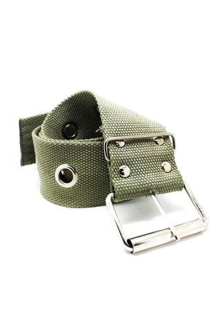 Vintage Y2K Khaki Grommet Belt - One Size Fits Many