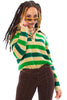 Vintage 80's Green Thumb Striped Sweater - XS/S/M