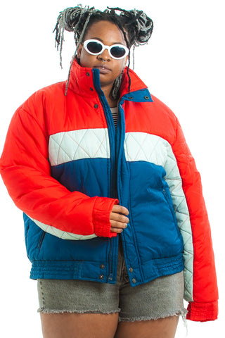 Vintage 80's Red, White, and Blue Puffer Ski Jacket - One Size Fits Many