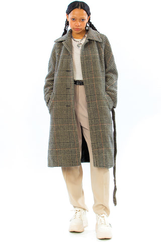 Vintage 80's Houndstooth Check Wool Overcoat - One Size Fits Many