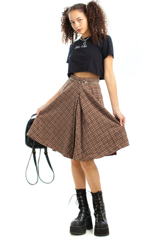 Vintage 60's Box Pleat Plaid Retro Skirt - XS