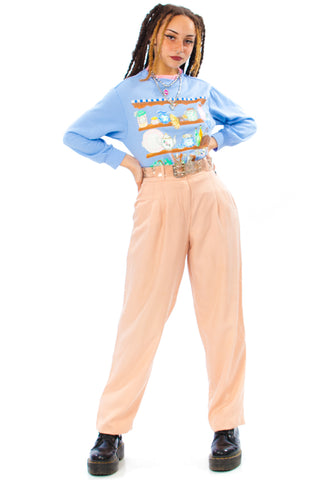 Vintage 90's What a Peach! Pleated Trousers - XS