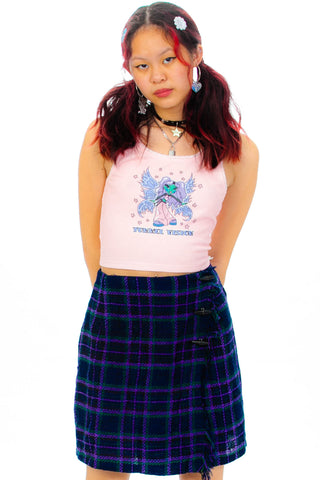 Vintage 90's Purple Plaid Mini Kilt - XS