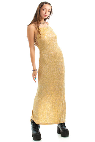 Vintage 90's Champagne Kissed Glitter Maxi Dress - XS/S