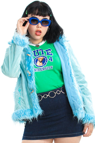 Vintage Y2K Ice Princess Faux Fur-Trimmed Coat - One Size Fits Many