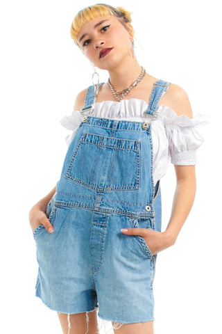 Vintage 90's Cut-Off Summer Song Overalls - XS/S
