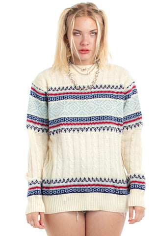 Vintage 90's Fair Isle-Esque Knit Sweater - One Size Fits Many