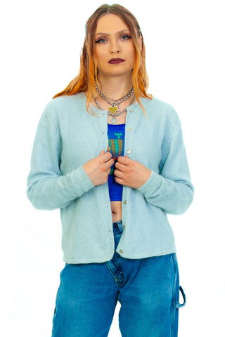 Vintage 90's Pastel Blue Cardigan - One Size Fits Many