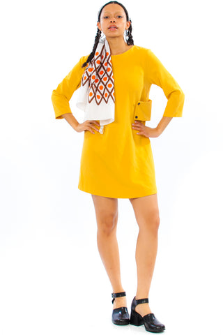 Vintage Y2K Mustard Retro Mini Dress - S/M