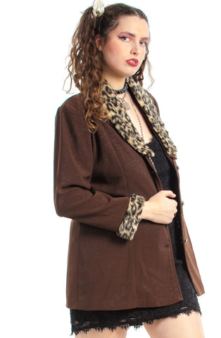 Vintage 90's Cheetah Trim Jacket - XL