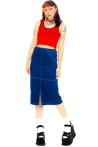 Vintage Y2K Cyber Zipper Denim Skirt - XS/S