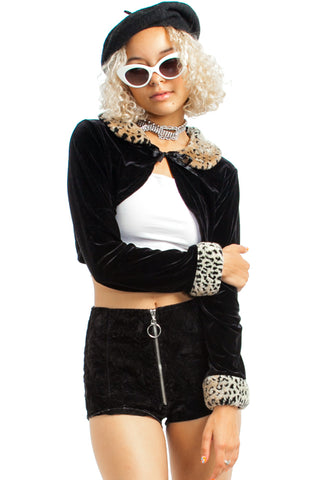 Vintage 90's Cheetah Faux-Fur Shrug - XS