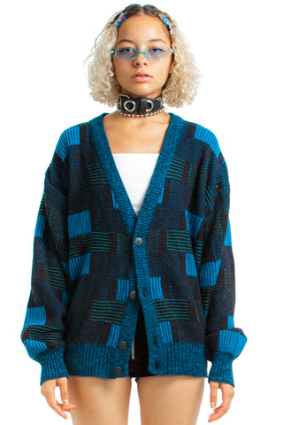Vintage 80's On the Grid Cardigan - One Size Fits Many