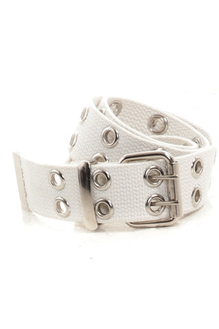 Vintage Y2K White Vegan Grommet Belt - One Size Fits Many