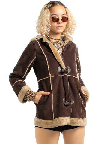 Vintage Y2K Brownie Hooded Coat - XS