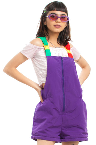 Vintage 80's Renewed Colorblock Shortalls - One Size Fits Many