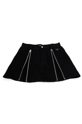 Weetzie Black Zip-Pleat Mini Skirt