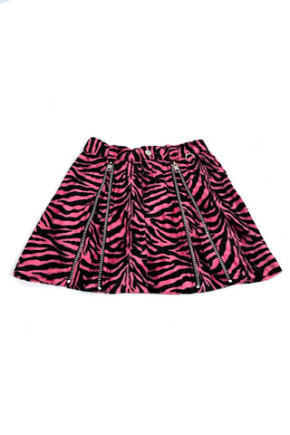 Weetzie Pink Zebra Zip-Pleat Mini Skirt