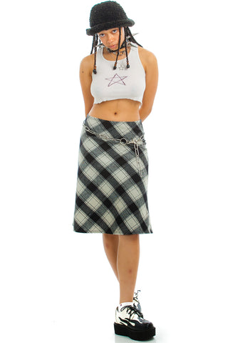 Vintage 90's Tamara Plaid Midi Skirt - L