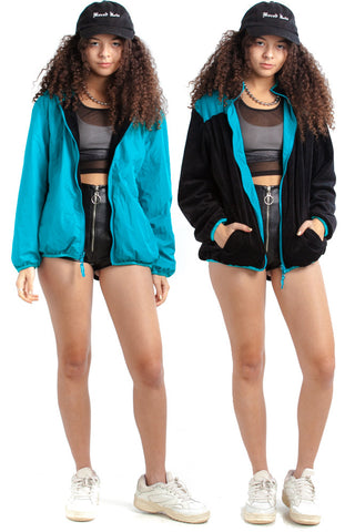 Vintage 80's Real Talk Reversible Teal & Velour Teal Jacket - XS/S/M