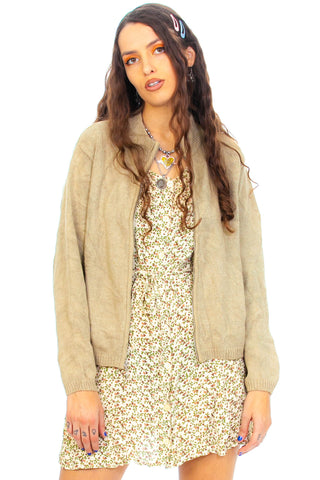Vintage 90's Khaki Zip-Front Cardigan - One Size Fits Many