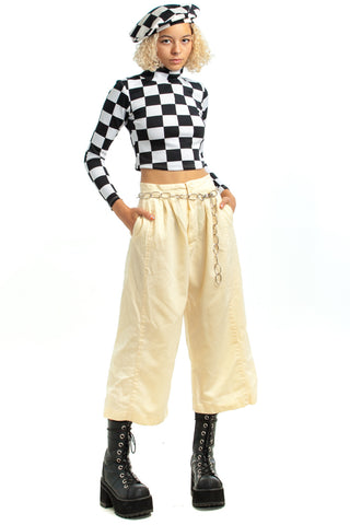 Vintage 80's Butter Tone Cropped Trousers - XS/S