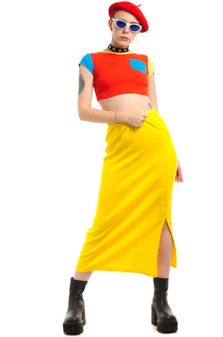 Vintage 80's Banana Boat Terry Cloth Maxi Skirt - XS/S