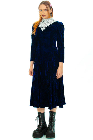 Vintage 70's Midnight Dolly Navy Velvet Maxi Dress - S/M