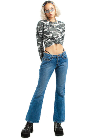 Vintage Y2K Fly Girl Denim Flares - XS/S