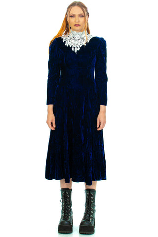 Vintage 70's Jessica McClintock Midnight Dolly Dress - S/M