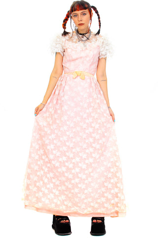 Vintage 70's Princess Peach Dress - XS