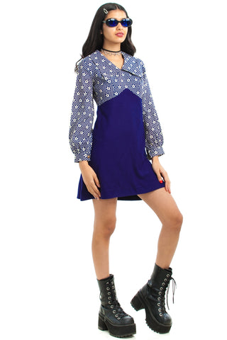 Vintage 70's Retro Navy Daisy Pop Mini Dress - XS