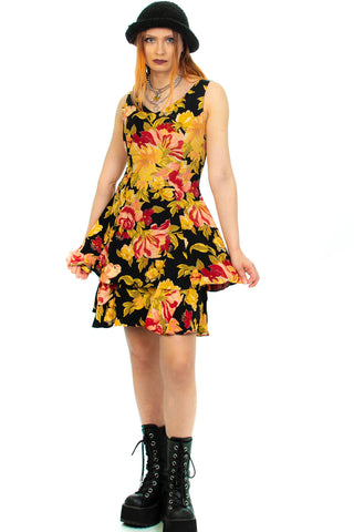 Vintage 90's Melanie Floral Mini Dress - S/M