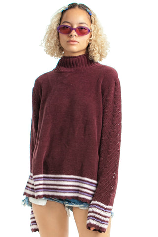 Vintage 90's Dusty Mauve Stripe-Trim Sweater - One Size Fits Many