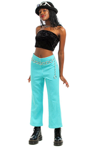 Vintage 70's Green Houndstooth Check Flares - M/L