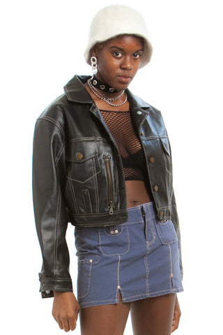 Vintage 90's Rhythm Nation Vegan Leather Cropped Jacket - One Size Fits Many