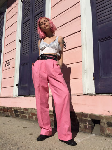 NEW ORLEANS Vintage 90's Pretty in Pink Trousers - S/M/L