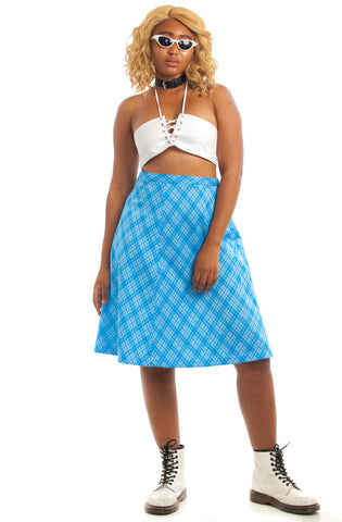 Vintage 70's Saturday In The Park Blue Checkered Midi Skirt - L