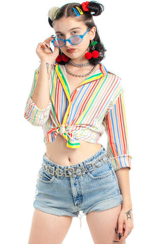 Vintage 70's Rainbow Stripe Button-Up - XS/S