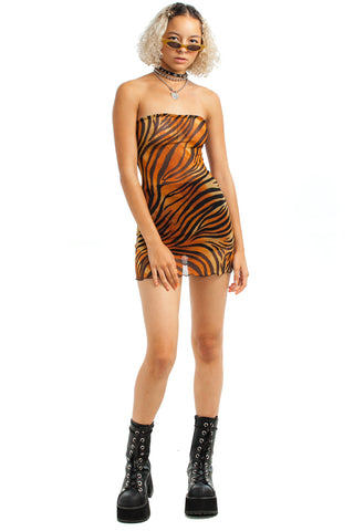 Vintage Y2K Tiger Mesh Mini Dress - XS/S