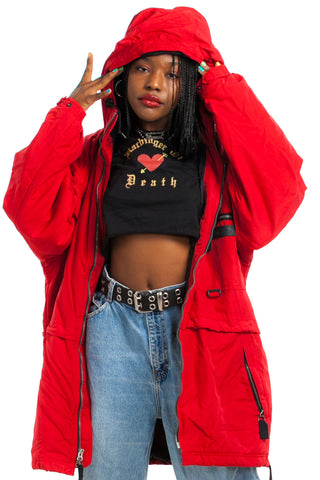 Vintage Y2K Red Hot Nylon Hooded Jacket - M/L/XL/2X