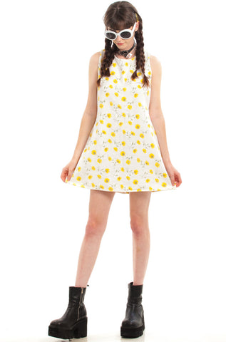 Vintage 60's Sunshine Daydream Sunflower Mini Dress - S/M