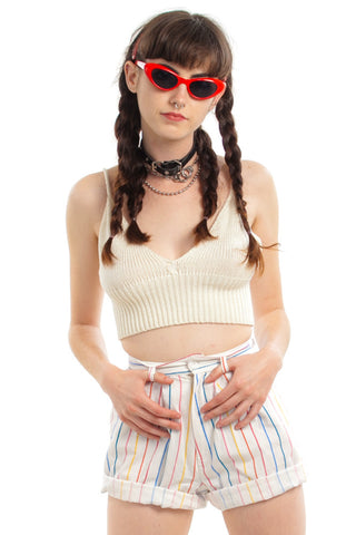 Vintage 80's Rainbow Stripe Shorts - XS