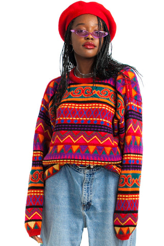 Vintage 80's Rainbow Overload Sweater - One Size Fits Many