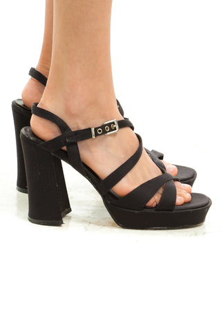 Vintage Y2K Strappy Satin Platforms - US 7.5