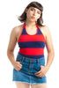 Not-Quite-Vintage 00's Red and Blue Striped Halter - XS/S/M
