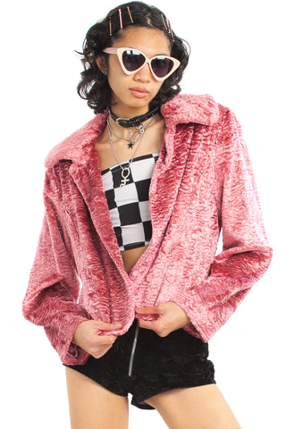 Vintage 90's Esprit Faux Fur Rose Coat - One Size Fits Many