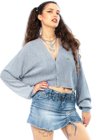 Vintage 80's Heather Grey Cropped Cardigan