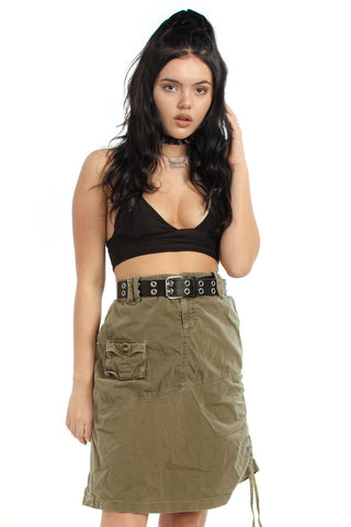 Not-Quite-Vintage Y2K Army Brat Cargo Skirt - L