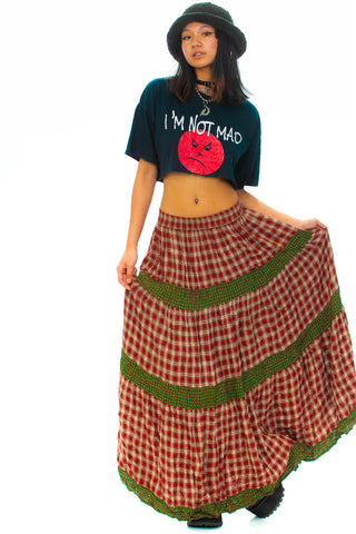 Vintage 90's Plaid Maxi Skirt - XS/S